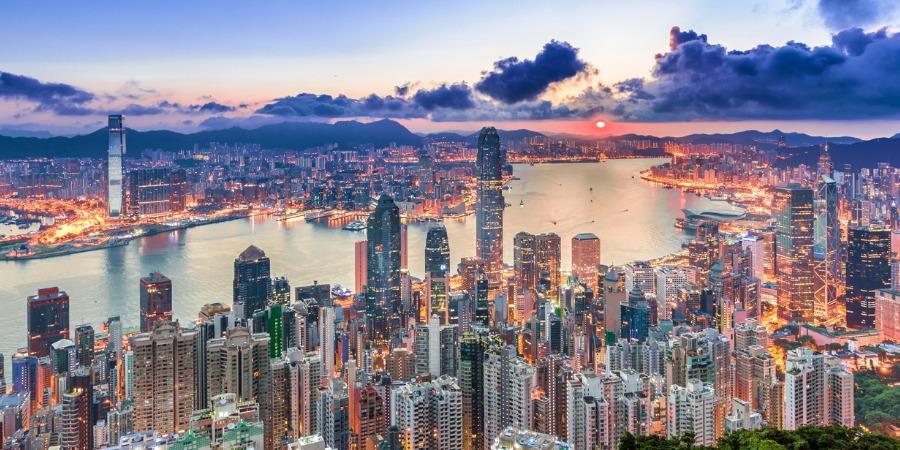Hong Kong - city view from peak at Sunrise