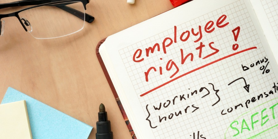 Notepad with words employee rights